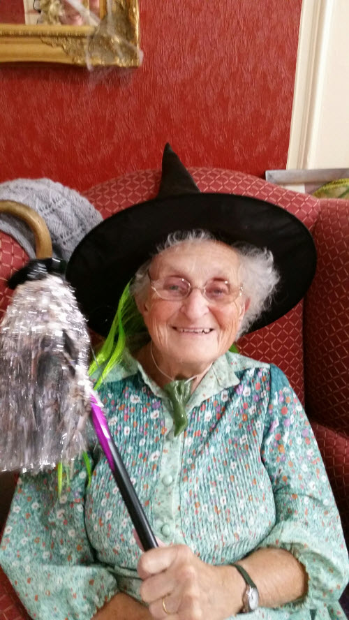 Care home resident dressed as a witch for Haloween
